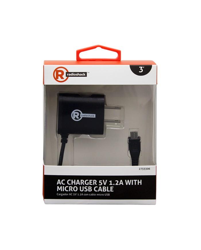 CARGADOR AC 5V 1.2A CMICRO USB 3FT